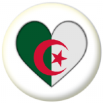 Algeria Country Flag Heart 25mm Button Badge
